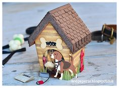 Thienly was so creative turning the GINGERBREAD CHALET VILLAGE house into a doghouse!  Then decoring it using DOGGIE PALS 1 & 2 COLLECTIONS!  So cute!