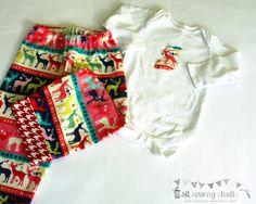 Christmas baby flannel pajama pants personalized bodysuit. Baby Christmas flannel pants and bodysuit Sizes: 3 mo, 6mo,12mo,18mo,2T. - pinned by pin4etsy.com