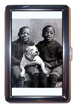 Black Boys wth Pit Bull Dog Antique Retro Pic Cigarette Case, ID Wallet USA Made