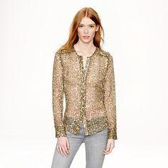 Collection ruffle-trim chiffon blouse in abstract animal print Abstract Animals, Bohemian Print, Ruffle Trim, Fashion Forward, Style Me, J Crew, Chiffon, Blouse, Collection