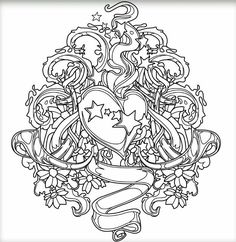 Skull Coloring Pages, Love Coloring Pages, Pattern Coloring Pages, Printable Adult Coloring Pages, Fairy Coloring, Coloring Books, Tattoo Painting, Colors, Doodles