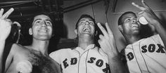 Rico Petrocelli, Carl Yastrzemski, and Reggie Smith after Game 6 of the 1967 World Series against the St. Louis Cardinals.