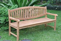 Oval garden bench that simply designed will make the small porch or patio looks spacious, as this kind of bench does not have heavy look ornament or decoration. Small Garden Bench Seat, Outdoor Garden Bench, Patio, Wooden Garden Furniture, Wooden Garden Benches, Outdoor Furniture, Wood Benches, Teak Furniture, Furniture Ideas