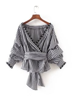 Puff Sleeve Sexy Wrap Blouse FOR HER