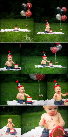 red and black cake smash session outdoors - outdoor cake smash session - red and black 1st birthday