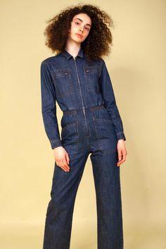 Boiler Suit, Denim Jumpsuit, Dungarees, Dark Denim, Work Wear, Indigo, Feminine, One Piece, Legs