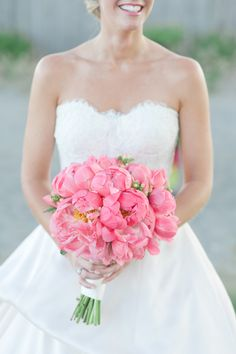 Pink Peony Bouquet | Leila Brewster Photography | See the Wedding on #SMPWeddings: http://www.stylemepretty.com/2013/10/08/narragansett-rhode-island-wedding-from-leila-brewster/