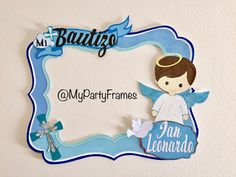 Bautizo bebé Ian Party Frame por@Jareth Lo  #baptism #baby #boy #picture #frame #partyframe #ideas Orders, design and shipping by @mypartyframes. Follow us on www.Facebook/mypartyframes Christening Themes, Baby Boy Christening, Baptism Centerpieces, Baptism Decorations, Baby Boy Names Vintage, Photo Booth Frame, Picture Frame, Party Frame, Baby Boy Themes