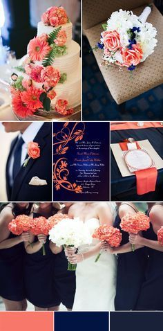 Peach and navy blue are a really great wedding color combination.