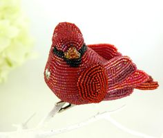 Cardinal Ornament Beaded Clip-On  Red Bird Christmas In July CIJ Sale 15% Off. $56.10, via Etsy.