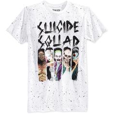 Bioworld Men's Suicide Squad Splatter Graphic-Print T-Shirt ($13) ❤ liked on Polyvore featuring men's fashion, men's clothing, men's shirts, men's t-shirts, tops, shirts, white, mens t shirts, mens graphic t shirts and mens white t shirts