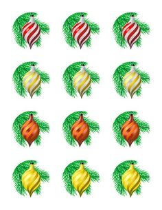 Teardrop Christmas Ornament Edible Cupcake & Cookie Toppers | My Party Helpers | http://mypartyhelpers.com/products/24-teardrop-christmas-ornament-edible-cupcake-toppers