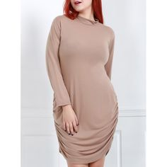 Sexy Turtle Neck Long Sleeve Plus Size Solid Color Women's Dress — 14.19 € Size: 3XL Color: BROWN