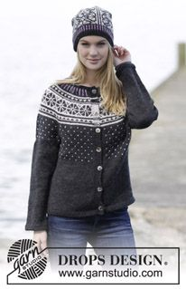 "Starry Night - Set consists of: Knitted DROPS jacket with round yoke and Nordic pattern, worked top down and hat with Nordic pattern in ""Karisma"". Size: S - XXXL. - Free pattern by DROPS Design"