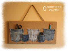 Denim Pocket Organizer Tutorial. Organizer made from denim pockets, burlaps, wood.