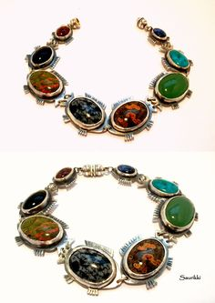 Silver braclet, with various precious stones and nice fish figures :)