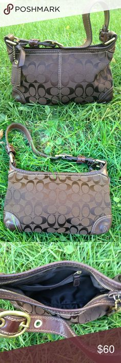 Coach Amber Signature C Bleecker Shoulder Bag Authentic Coach shoulder bag. Used WOT very minimal sign of use this bag is in great condition. Brown with gold hardware. Coach Bags Shoulder Bags