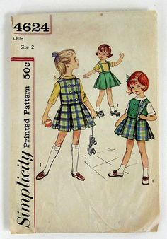 Girls Size 2 Skirt, Blouse and Reversible Vest 60s Simplicity Printed Pattern 4624 / Complete. $8,00, via Etsy.