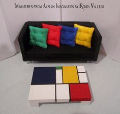 1:12 scale Mondrian style hand built and painted mid century modern dollhouse coffee table with white base