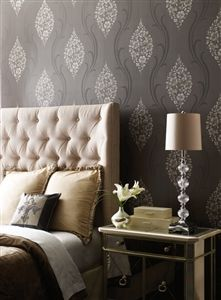 Floral Ogee Wallpaper in Charcoal and Metallic by Antonina Vella - Seabrook Designs | Seabrook Wallpaper | BurkeDecor.com