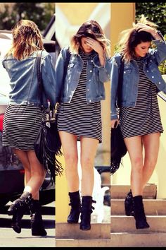 kylie jenner outfit black boots, jean jacket, black and white dress