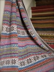 Maire Wallin - Sage Throw If I wanted one pattern that would take me the rest of my life to knit, I'd choose this one. Fair Isle Knitting Patterns, Fair Isle Pattern, Knitting Charts, Knitting Stitches, Knitting Designs, Knitting Projects, Crochet Projects, Knitted Afghans, Knitted Blankets