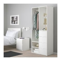 IKEA - SUNDLANDET, Open wardrobe, white, Handy storage space to keep your hairbrush and other grooming accessories on the shelf under the mirror. Clothes rail, drawers and open shelves give you plenty of storage space. Built-in mirror. Open Wardrobe, Diy Wardrobe, White Wardrobe, Clothes Stand, Clothes Rail, Bedroom Closet Design, Bedroom Decor, Master Bedroom, Open Shelving