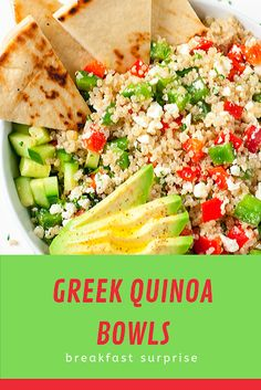 Loaded with fresh veggies and drizzled in a light homemade dressing, these tasty vegetarian Greek Quinoa Bowls make healthy eat. Relish Recipes, Carrot Recipes, Bacon Recipes, Shrimp Recipes, Potato Recipes, Appetizer Recipes, Healthy Recipes, Escarole Recipes