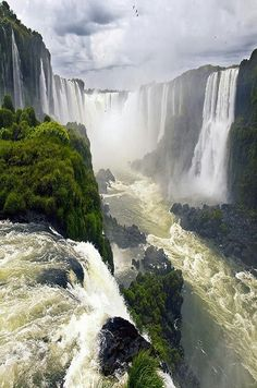 Iguazu Falls / Cataratas del iguazú,Brazil Argentina By GRdeA one of the falls is called the devils throat. Places Around The World, Oh The Places You'll Go, Places To Travel, Places To Visit, Around The Worlds, Beautiful Waterfalls, Beautiful Landscapes, Brazil Argentina, Beautiful World