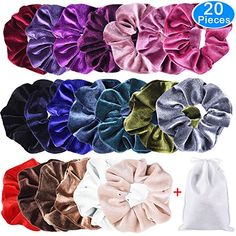 8Pcs Metallic Shiny Hair Scrunchies Ponytail Holders Elastic Ties Girls Bands aa