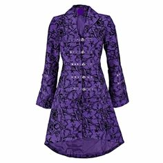 Hearts and Roses Black Vintage Tattoo Flock Fabric Long Coat Victorian Tattoo, Purple Coat, Hearts And Roses, Langer Mantel, Muslim Fashion, Size Clothing, Purple Clothing, Emo, Fashion Beauty