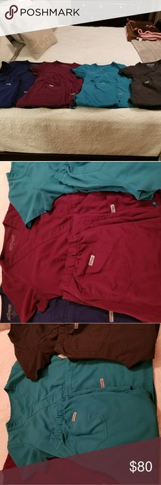 Grey's Anatomy Scrubs lot Royal Blue - Small Petite Wine - Small Petite Legend (Teal) - Small Petite Twilight (Dark Blue) - Extra Small Petite  Used, good condition. Modern fit Grey's Anatomy by Barco scrubs tops AND bottoms.  $80 for the set. Will do for $65 on 🅿️🅿️  Pants retail at $32 EACH and tops $27 EACH Grey's anatomy Other