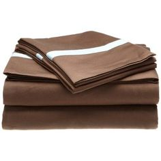 Hotel Collection 300 Thread Count Cotton Sheet Set Queen-Mocha/Sky Blue, Black