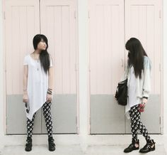Asymmetrical Top, Topshop Ying Yang Leggings, Cut Out Boots, Ombre Denim Jacket