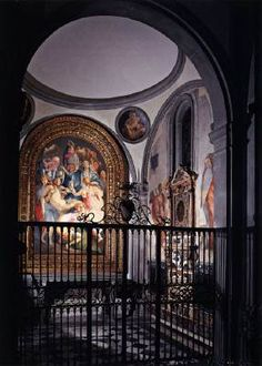 View of the Capponi Chapel, Santa Felicita, Florence, Italy.  Deposition and Annunciation by Jacopo Pontormo.
