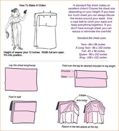 How to make a chiton (simple instructions). How Greek & Roman women dressed article: http://cameciob.hubpages.com/hub/How-to-dress-like-a-woman-from-ancient-Greece