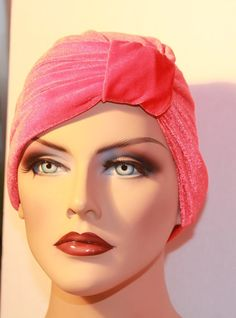 Headband Turban Red Velour  Bow Full Head Chemo by itsexclusive