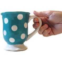 Ceramic Coffee Mug Turquoise with Polka Dots. $12.50, via Etsy.