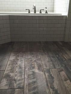 daltile subway tile, marazzi wood tile floor, custom pro fusion gold glitter grout, farmhouse wide plank wood tile, reclaimed wood tile, subway tile with wood tile