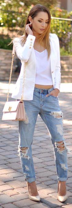 White Blazer White Crop Top Distressed Boyfriend Jeans by Hapa Time