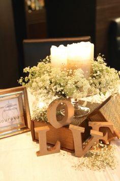 花どうらく/ウェディングブーケ/hanadouraku/http://www.hanadouraku.com/bouquet/wedding/かすみ草/love/キャンドル/センターピース/ゲストテーブル/アンティーク