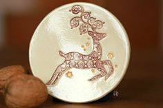 Rudolph Plate Ceramic Ring Dish Holliday Decor Lace by Ceraminic