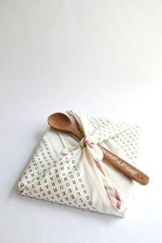 DIY Word Search Tea Towel Gift Wrap