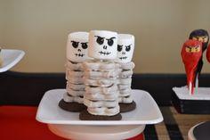 Ninjago Birthday - Pretzel and Marshmallow skeletons