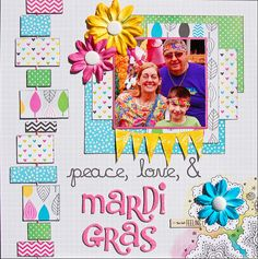 Amy Tangerine, peace, love, & mardi gras.  I love the fun bright colours used here, and the rectangular banner running down the side of the page