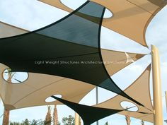 shading for above trellis / pergola Fabric Structure, Roof Structure, Shade Structure, Bamboo Architecture, Architecture Design, Urban Landscape, Landscape Design, Pool Shade, Beach Lighting
