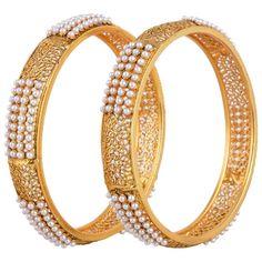 Indian Fashion Jewelry Bangles Bracelets Bollywood Ethnic Gold plated pearl kada #ShouryaExports #Bangle