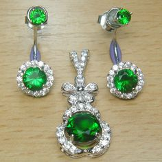 Brilliant Cut Green and White CZ 925 Sterling Silver Two in One Jewelry Set