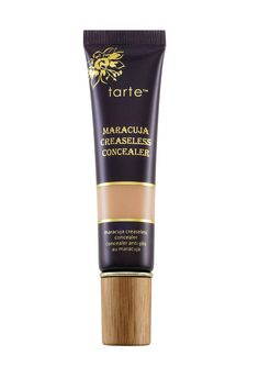 Tarte...A long-lasting, full-coverage, creamy concealer that won't budge on your skin.  Best For: Tarte's Maracuja Creaseless Concealer covers under-eye shadows and blemishes perfectly and is quickly becoming a favorite amongst the beauty crowd.   Tarte Maracuja Creaseless Concealer, $24; dermstore.com