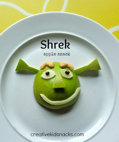 Shrek Apple Snack ~ my kids would love this simple wholesome snack!  How adorable!